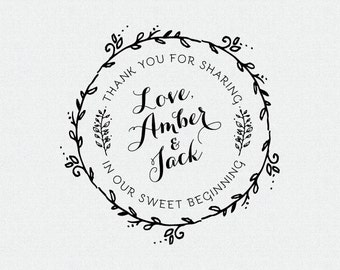Custom Our Sweet Beginning Stamp, Wedding Favor, Thank You Stamp, Self Inking Stamp, Wood Handle, Circle Stamp, Personalized (T143)