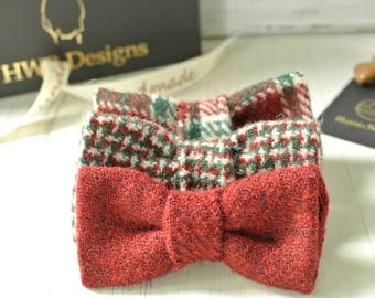 Christmas Dog Bow Tie, Holiday red, green and Plaid Harris Tweed Bow Tie, Detachable Bow tie, Houndstooth, Plaid Bow tie
