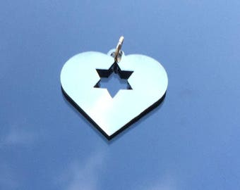Magen David in my Heart Star of David Necklace,Jewish Jewelry,Love,Heart,Quality surgical SS pendant, Judaica, Israel,  Jewish Star Necklace