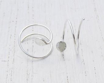 Double Piercing Earrings / Argentium Sterling Silver Double Earrings / Textured Hoops / Hammered Eco-Friendly Earrings / Double Hoops 101514