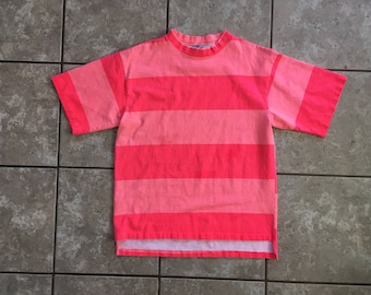 Off the Top Vintage Surf Striped Shirt Flourescent Orange Pink 90's M Made in USA