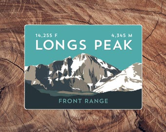 Longs Peak Colorado Sticker - high quality, weatherproof, 14er mountain illustration