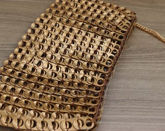 Gold Crossbody Handbag / Upcycled Bag / Clutch Purse / Vegan Friendly Bag / Modern Handbag / Knitted Bag / Unique Purse / Bags for Her