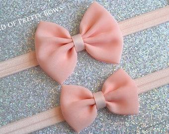 Peach Headband Peach Baby Hair Bow Peach Baby Bow Headband Baby Headband Bow Newborn Peach Headband Small Peach Hair Bow