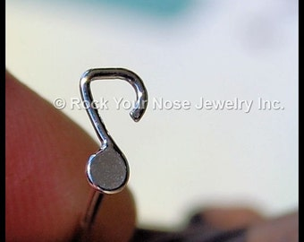 Music Note Nose Stud - A Single Note  - Tarnish Resistant Argentium Sterling Silver - CUSTOMIZE