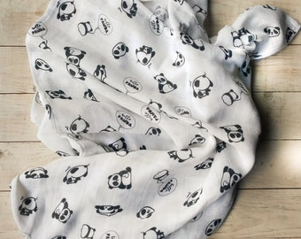 Muslin Swaddle Baby Blanket, Cotton Baby Swaddle, Panda Muslin Baby Swaddle, Planets Baby Blanket, Gauze Baby Blanket
