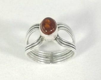 Vintage Sterling Silver Amber Modernist Ring Size 8.75