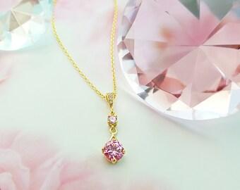 Pink CZ Necklace - Pink Diamond Necklace - Pink Crystal Necklace - Pink Necklace Women - Cubic Zirconia Jewelry - Valentine's Necklace N2420