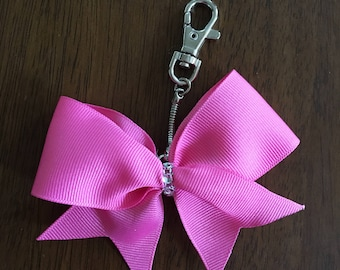 Pink Cheer Bow Keychain