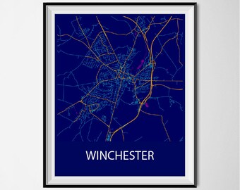 Winchester Map Poster Print - Night