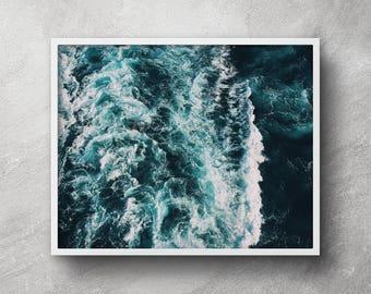 Sea poster, Sea print, Sea foam photo, Ocean print, Ocean poster, Ocean photography, Ocean wall art, Ocean photo prints, Coastal decor