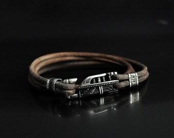 "Men's Leather Sterling Silver Bracelet ""Innominis 2"" | Mens Fashion Jewelry Silver Bracelet | Cool Mens Bracelet Sterling Silver"