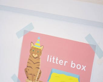 "Puppy Kitten Birthday Party 5"" x 7""  INSTANT DOWNLOAD Printable Digital File,  Litter Box sign for bathroom, Bow Wow Meow, Pawty, Cat, Dog"