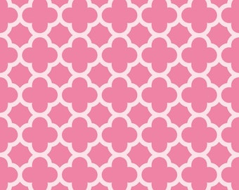 SPARKLE Hot Pink Quartrefoil, from Riley Blake Designs