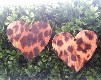 Cheetah Heart- Handmade Wooden Earrings