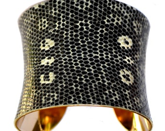 Black and White Spotted Lizard Leather Gold Lined Cuff Bracelet - by UNEARTHED