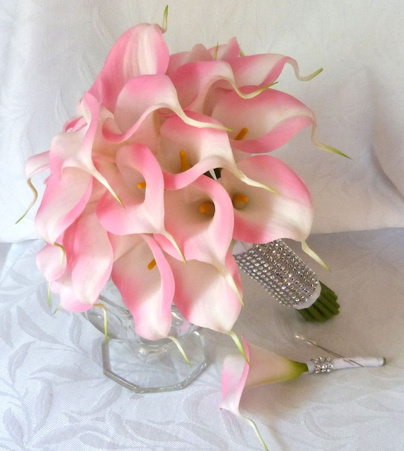 Pink Calla Lily Wedding Bouquet Real Touch Mini Bridal