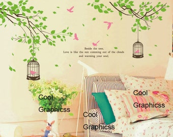 branch wall decal children wall decal nursery wall decal birds decal Vinyl Wall Decal Wall Sticker - Two Branches with birds cage