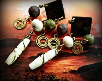 Primitive Bone, Bead and Wire Earrings