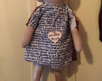 Prim Doll, We All Matter, Primitive Doll, Grungy, Whimsical, Prim Doll, Names, Handmade Cloth Doll, One of a Kind, OFG
