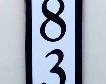 Black Edged House Number Vertical Tile Address Plaque