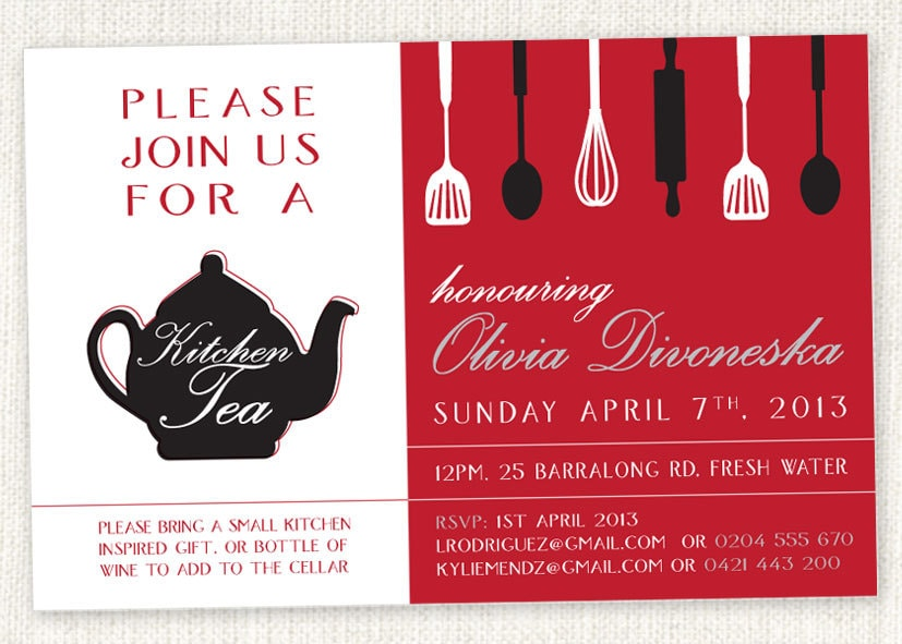 kitchen tea invitations inspiration for your house