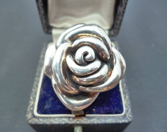 """A stunning large silver rose statement ring - 925 - sterling silver - UK P - US 7.75 - 1.25"""" X 1.25"""""""