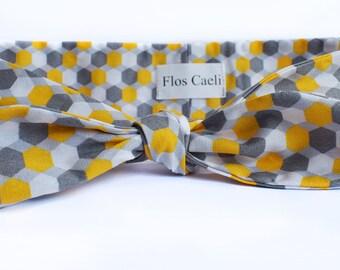 Geometric hexagon headband - Graphic design pattern - cotton headbands - Women Hair Scarf - Gray, Yellow, White Hair Bow - Bandanas