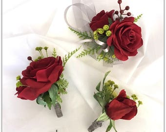 Wedding  boutonniere, wedding flowers, mother corsage.