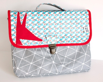 Light blue and grey native satchel