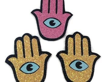 Hamsa sew on patch vinyl glitter holographic hippie boho bohemian patches festival third eye