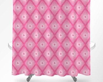 Pink Shower Curtain, Shower Curtain Art, Bathroom Curtains, Modern Shower Curtain, Bathroom Decor, Pink Diamond Pattern, Shower Curtain Boho