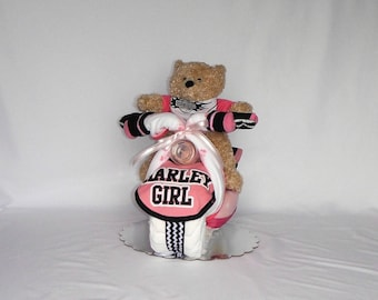Pink Harley Davidson Theme Motorcycle Diaper Cake With Tan Bear, Harley Davidson Booties, Pink Receiving Blankets and More
