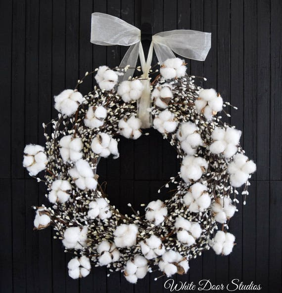 Cotton and White Pip Berry Front Door Wreath