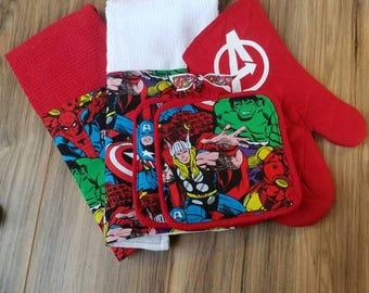Marvel comics red kitchen set