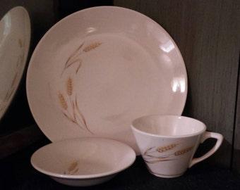 Vintage Wheat Pattern USA Pottery Dinnerware Set