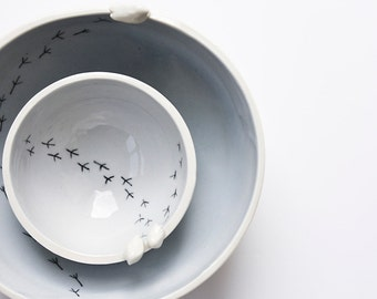 ceramic bowl, pastel ceramic dishes, nesting bowls, lilac bowl, bird bowl, stoneware bowl, set of bowls, engagement gift, ceramic love birds