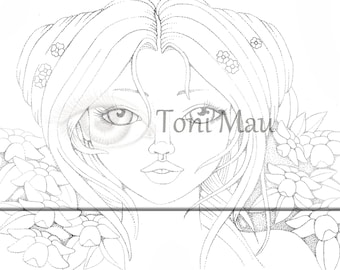 Dililah- Digital Download Coloring Page, Adult Coloring, Relaxing, Digi Stamp, Printable, PDF file.