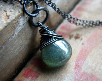 Wayfarer - wire wrapped moss green quartz necklace