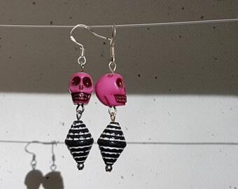 Pink and Black Skull Earrings