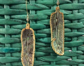 Abalone feathers earrings with gold