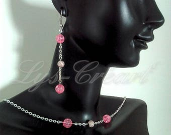 Set earrings and necklace, Pearl Pink Crackle effect - By Lily Creart'
