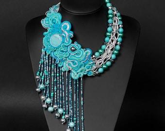 Soutache Necklace -Blue night