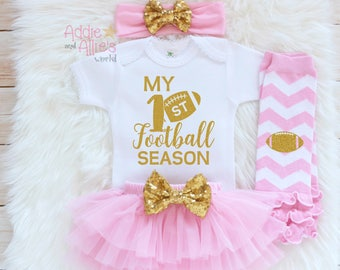 Baby Girl Clothes, Baby Girl Outfit, Baby Football Outfit, TuTus and Touchdowns, baby girl football shirt, Baby Bloomers football baby SP1P