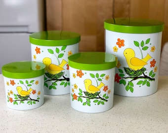 NEW OLD STOCK Vintage Kitchen Canister Set, 1960s Kitchen, Funky Flowers and Bird, A Lorrie Design, Made in Japan, nos