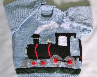 MADE TO ORDER Kids Train Sweater Toddler Train Jumper Hand Knitted Childrens Train Pullover. Custom Color & Size