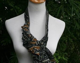 RecycledNeckties ~ Necktie Necklace - Vintage GRAY & BLACK Tie /  Gray Brown BLACK  Silk Tie - Women's Necktie - Necktie Scarf - Statement