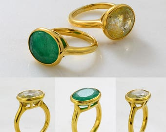 Gemstone ring - Gems Ring - Emerald Rind - Sapphire Gemstone Ring - Stackable Ring - Gold Ring - Oval Ring - Gemstone Ring - Set of 2 Rings
