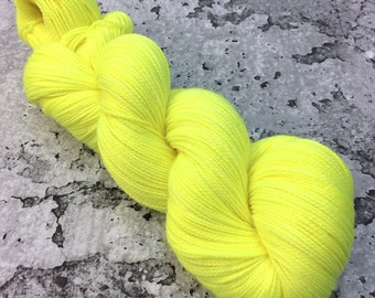 ELECTRIC LEMON - 80/20 Merino Sock Hand-dyed Yarn
