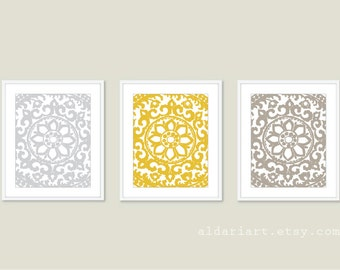 Modern Flower Medallion Art Prints - Unique Wall Art - Soft Taupe Mustard Yellow Soft Grey - Abstract Flower Triptych
